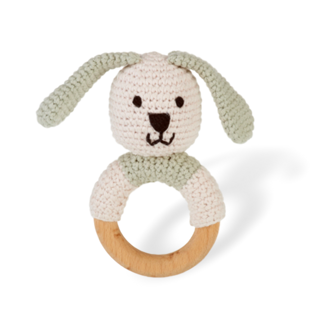Wooden Ring Rattle Bunny - organic