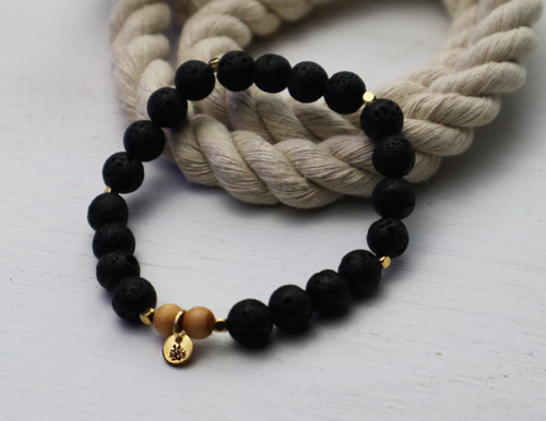 Lava Bead Bracelet - Black and Gold
