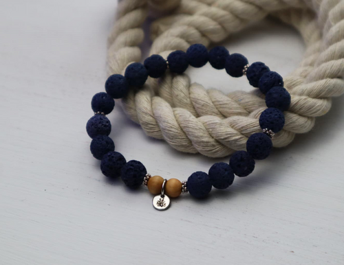 Lava Bead Bracelet - Royal Blue and Silver
