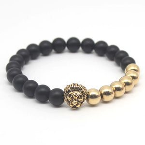 Lion Head  Gold/Black Braclet - BlackOynx