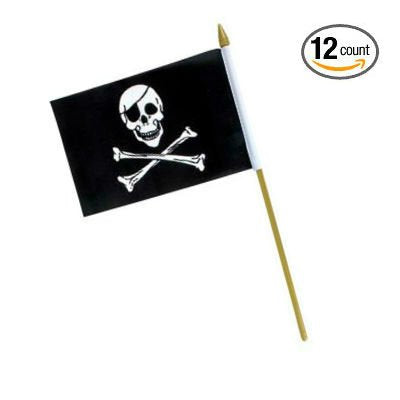 "Set of 12 Pirate Skull Polyester Stick Flags 12"" x 18"" on Wooden Sticks - Play Kreative TM (PIRATE SKULL) - PlayKreative.com"