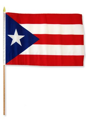 One Dozen Puerto Rico 12x18in Stick Flags. - PlayKreative.com