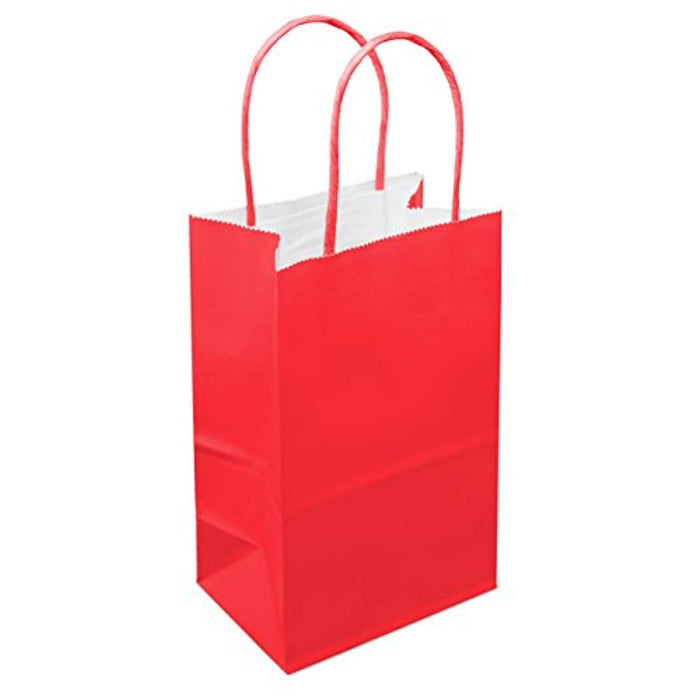 "12 Counts Food Safe Premium Paper and Ink Small 8.5"" X 5.25"", Vivid Colored Kraft Bag with Colored Sturdy Handle, Perfect for Goodie Favor DIY Bag, Environmentally Safe (Small, Red) - PlayKreative.com"
