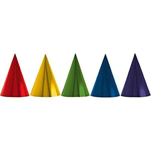 Birthday Party Foil Cone Hats - 24 Pieces