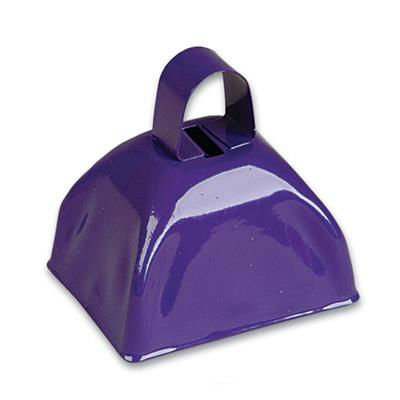 Purple Metal Cowbell Noisemakers - School Cowbells Set 12 Pack - Play Kreative - PlayKreative.com
