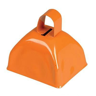 Orange Metal Cowbell Noisemakers - School Cowbells Set 12 Pack - Play Kreative - PlayKreative.com