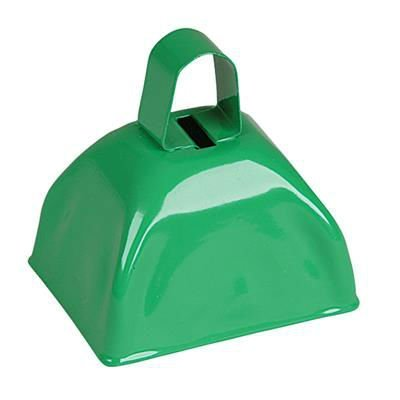 Green Metal Cowbell Noisemakers - School Cowbells Set 12 Pack - Play Kreative - PlayKreative.com