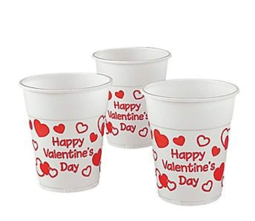 Valentine's Day Plastic Disposable Cups - 50 Pieces