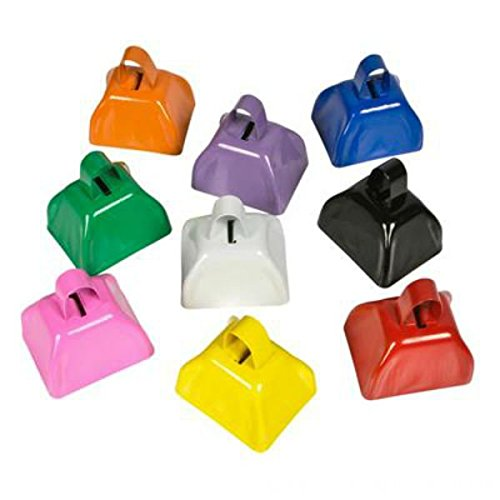 Assorted Color Metal Cowbell Noisemakers - School Cowbells Set 12 Pack - Play Kreative - PlayKreative.com