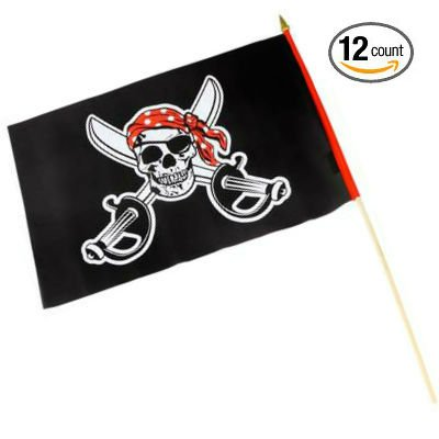 "Set of 12 Pirate Polyester Stick Flags 12"" x 18"" on Wooden Sticks - Play Kreative TM (PIRATE) - PlayKreative.com"