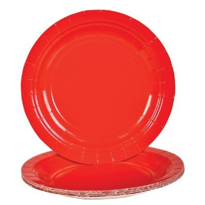 Round Dinner Paper Plates (9 Inch, Red) - PlayKreative.com