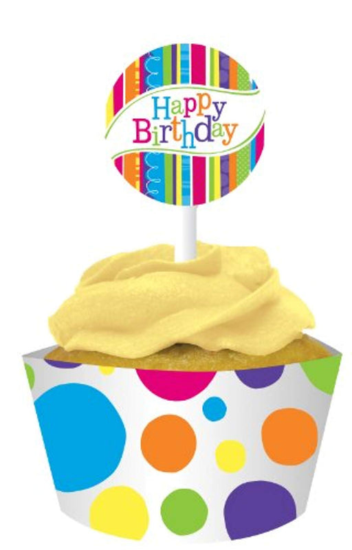 Happy Birthday Cupcake Wrappers and Picks - 12 Count