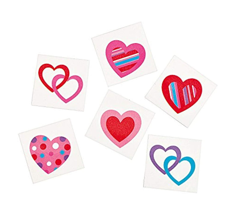 Valentines Day Hearts Design Temporary Tattoos - Pack of 72