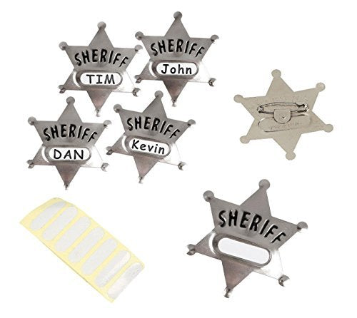 Play Kreative Western Cowboy Metal Sheriff Badge with Name Sticker - Set of 12 - PlayKreative.com