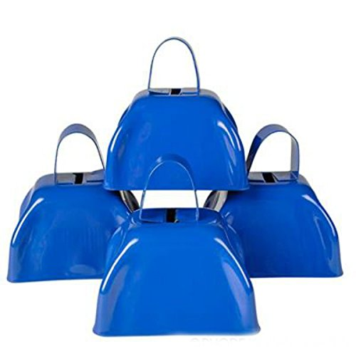 Blue Metal Cowbell Noisemakers - School Cowbells Set 12 Pack - Play Kreative - PlayKreative.com
