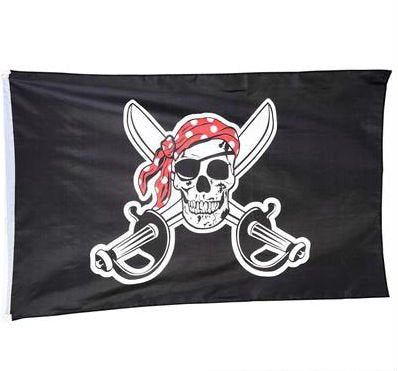 Play Kreative Pirate Skull with Red Bandanna Flag - 3x5 Ft - PlayKreative.com
