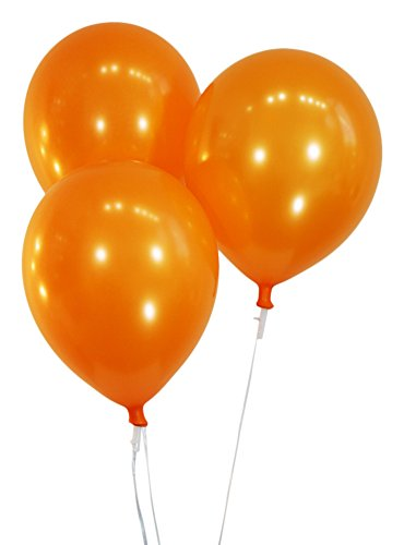 Metallic Orange 12 Inch Latex Balloons - Pack of 100 Pieces
