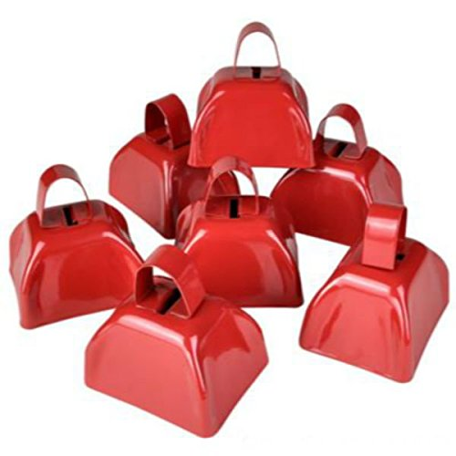 Red Metal Cowbell Noisemakers Set - School Cowbells 12 Pack - Play Kreative - PlayKreative.com