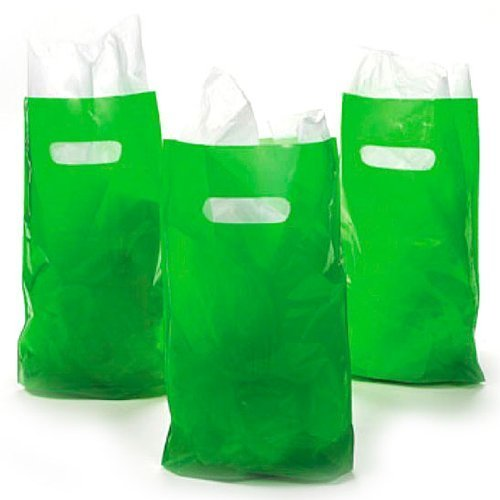 Green Treat / Goody Plastic Bags ~ Party Favor (Package of 50) - PlayKreative.com