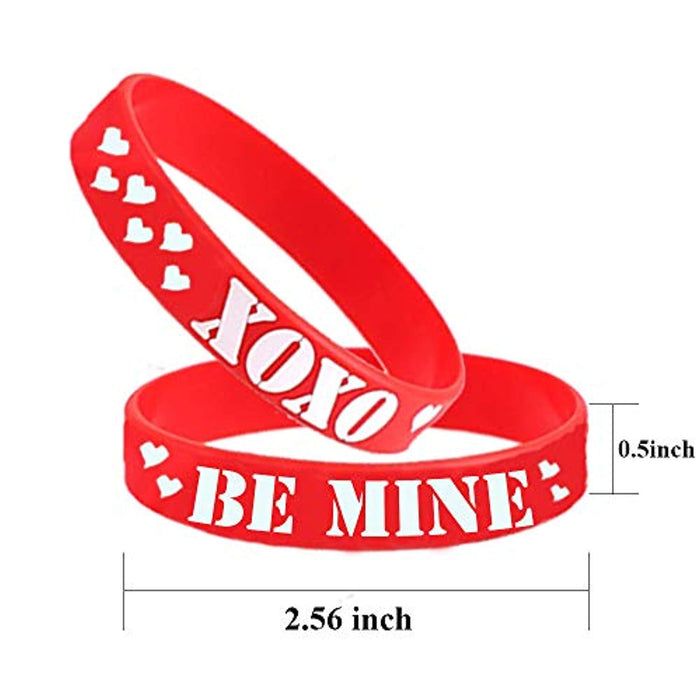Valentine's Day Heart Rubber Wristband Bracelets - 36 Pieces
