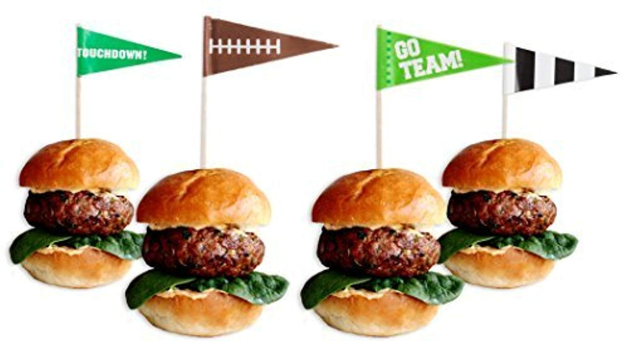 Football Flag Cupcake Picks - Pack of 36