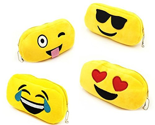 Emoji Plush Pencil Case - Pack of 4 - Play Kreative Tm - PlayKreative.com