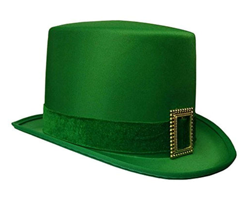 St. Patrick's Day Leprechaun Green Satin Top Hat with Buckle