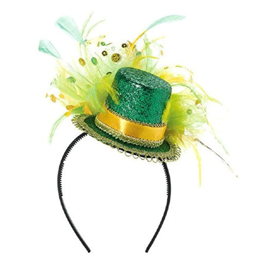 St. Patrick's Day Green Glitter Mini Top Hat Headband