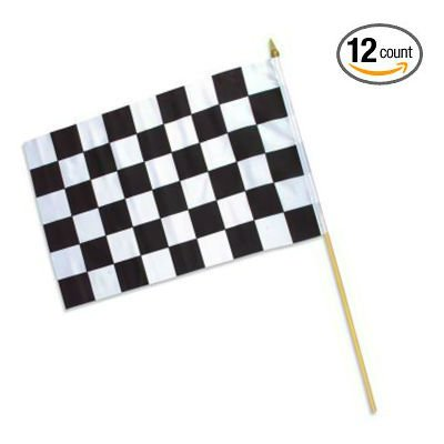 "Set of 12 Checkered Racing Polyester Stick Flags 12"" x 18"" on Wooden Sticks - Play Kreative TM (RACING) - PlayKreative.com"