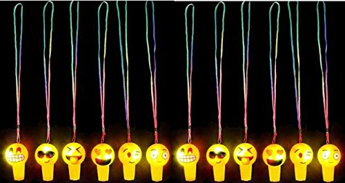 Emoji Light Up Whistle Necklaces - 12 pk - Play Kreative TM - PlayKreative.com
