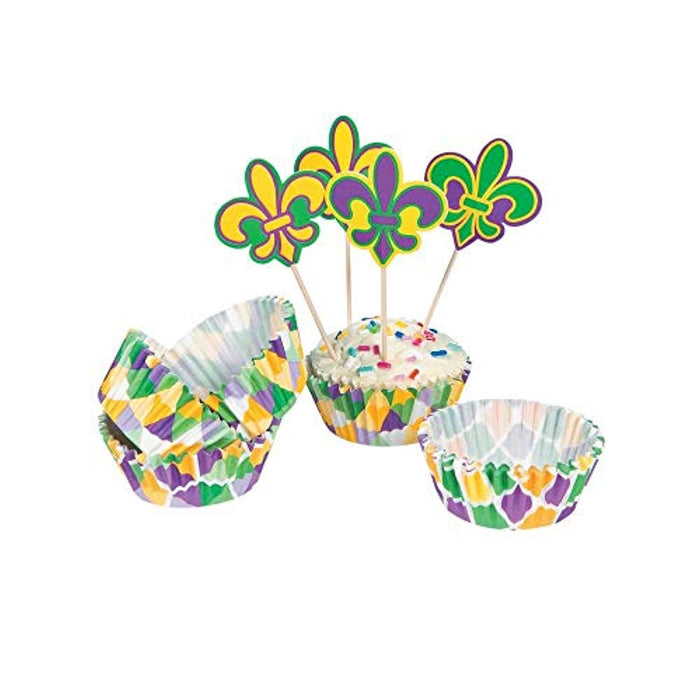 Mardi Gras Cupcake Liners with Picks - 50 Count