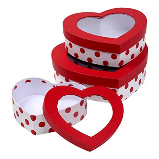 Valentine's Day Heart Shaped Treat Boxes  - 3 piece Set