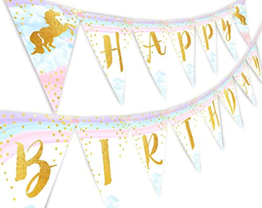 Magical Sparkle Unicorn Happy Birthday Pennant Banner