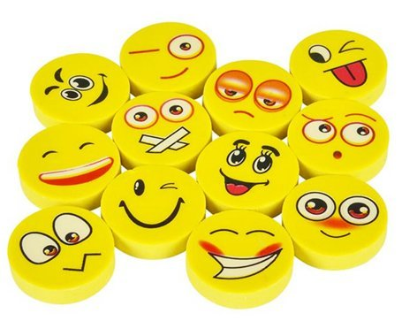 Play Kreative Emoji Pencil Erasers - 72 Pack -  Emoticon Party Favors - PlayKreative.com