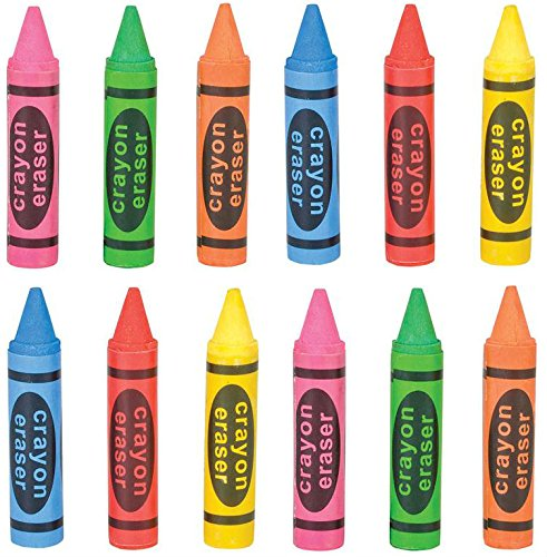 Set Of 12 -Big Crayon Shaped Erasers-Assorted Colors. 2.75 Inch - Play Kreative - PlayKreative.com