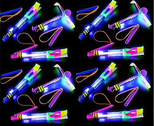 Play Kreative Led Light Up Arrow Rocket Helicopter Flying Slingshot Style Toy - PlayKreative.com