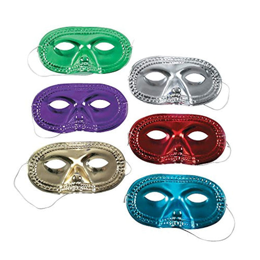Marid Gras Metallic Masquerade Masks - 48 Pieces