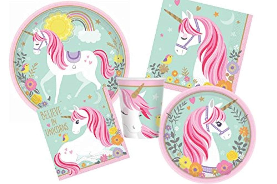 Magical Unicorn Birthday Party Supplies Pack for 16 Guests