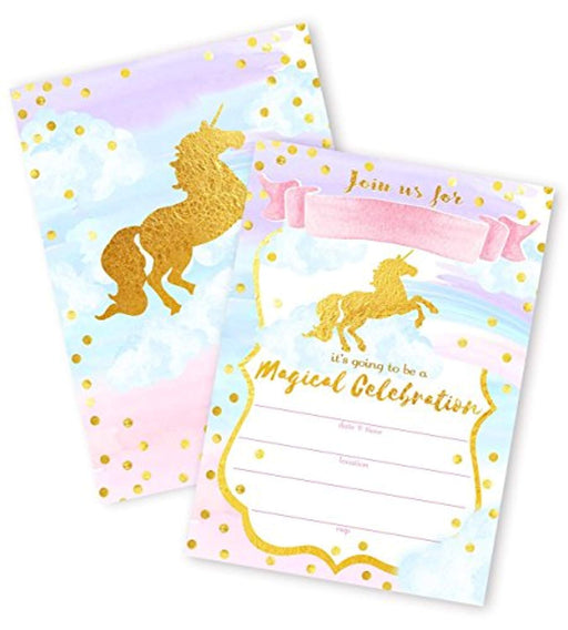 Magical Sparkle Unicorn Invitations  - Pack of 12
