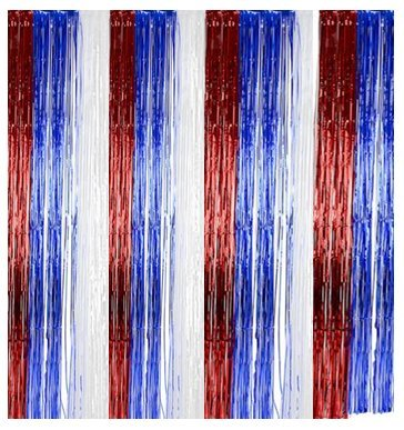 Patriotic Tinsel Foil Fringe Curtain - Play Kreative TM - PlayKreative.com
