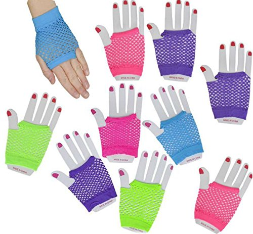 Neon Fingerless Diva Fishnet Wrist Gloves - 12pk - Play Kreative TM - PlayKreative.com