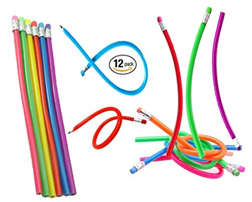 "Play Kreative Flexible Pencils - 12 Count - 13"" Bendy Soft Pencil with Eraser - - PlayKreative.com"