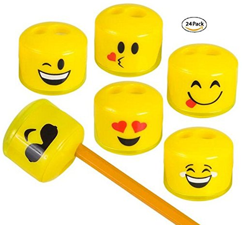 Play Kreative Emoji Pencil and Crayon Sharpeners -  24 pack - PlayKreative.com
