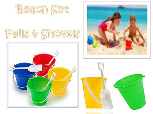 Play Kreative Kids Beach Set Sand Pails and Shovels - 12 Sand Buckets with Shove - PlayKreative.com