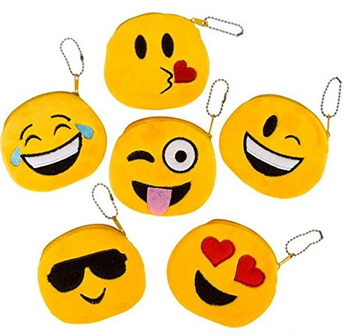 "Cute Emoji Coin Purse - Pack of 6 Kids Emoticon Plush Coin Purse 4"" - Party Favo - PlayKreative.com"