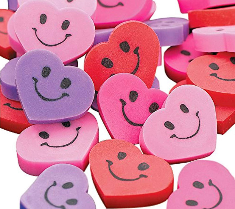 Mini Heart Erasers - Pack of 144 Pieces