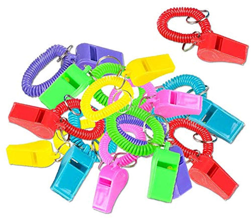 Whistle Spiral Bracelets with Keychain - Pack of 12
