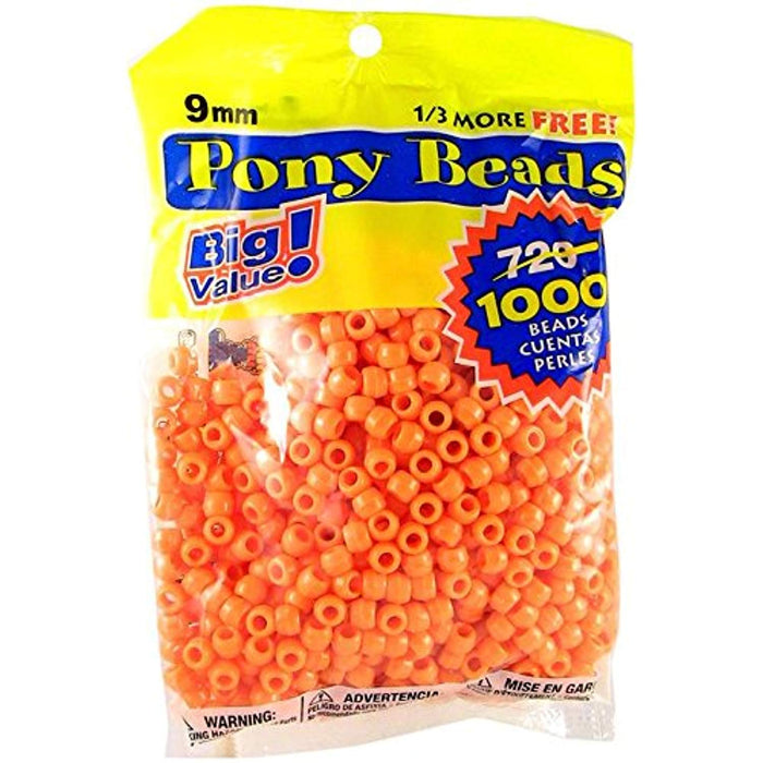 Pony Beads - Choose Color - 9mm, 1000  pieces
