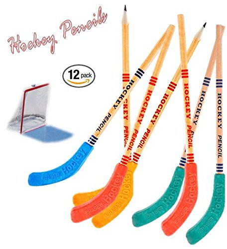 Play Kreative Hockey Pencils and Erasers - Pack of 12 Kids Assorted Hockey Penci - PlayKreative.com