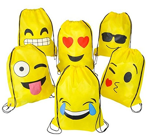 Play Kreative Emoji Drawstring Tote Bag - 12 Pack Emoji Trip Bag - PlayKreative.com